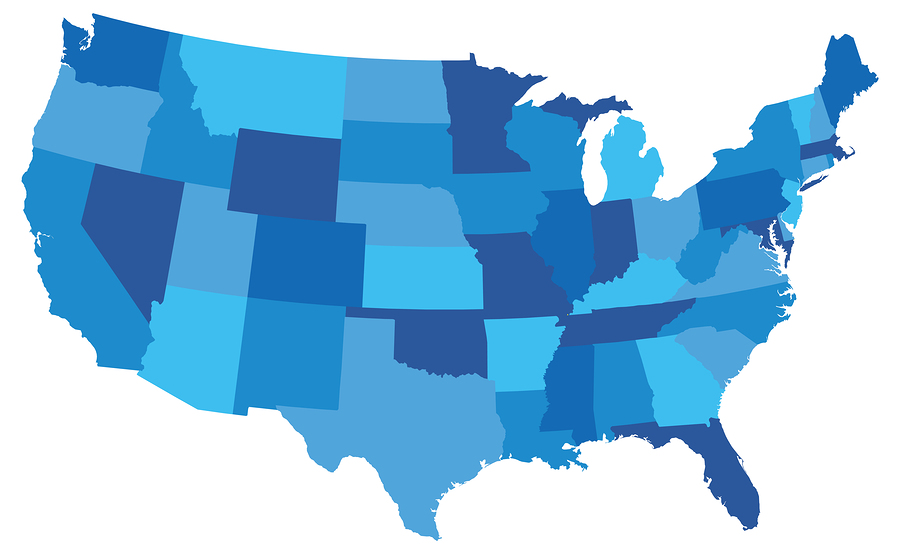 Blue graphic of the United States, with states in varied random shades of blue