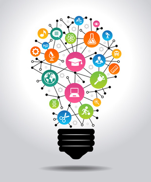 Picture of light bulb with icons for school-related topics